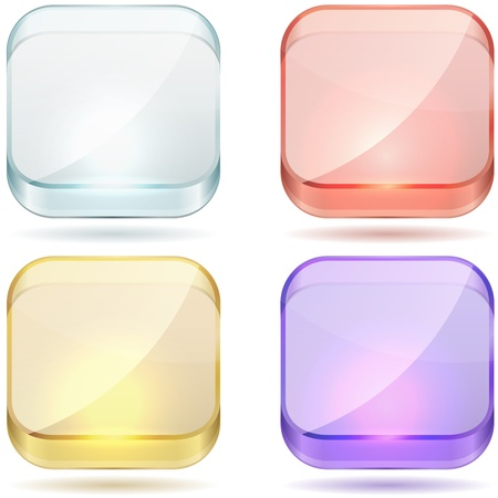 matted: Bright color glass rounded square buttons set isolated on white background