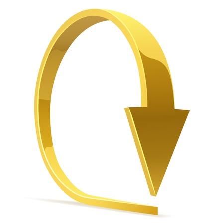circular shape: Golden bent arrow - download icon