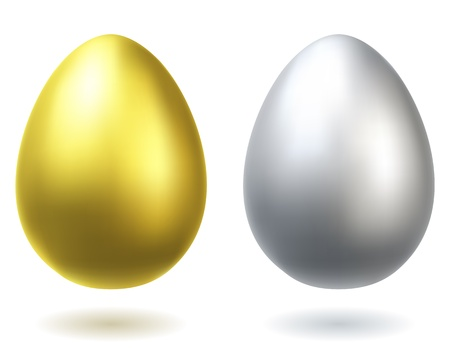 3d chicken: Golden and silver eggs realistic illustration