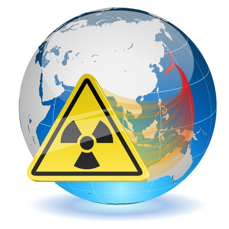 yellow earth: Earth globe with radiation hazard sign  Japanese radioactive contamination hazard  Illustration