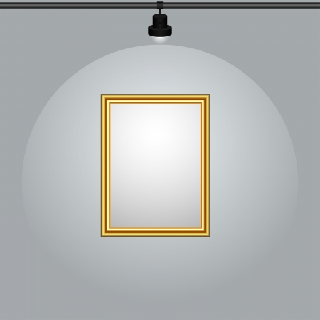 Gilt-framed blank painting hanging on the wall  Vector