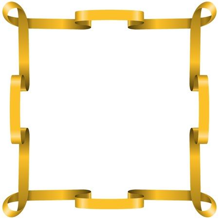 border frame: Golden ribbon frame isolated on white background