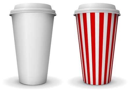 Take-away fast food coffee paper cup Vector