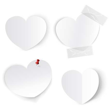 Blank white paper hearts template. Stock Vector - 17694793