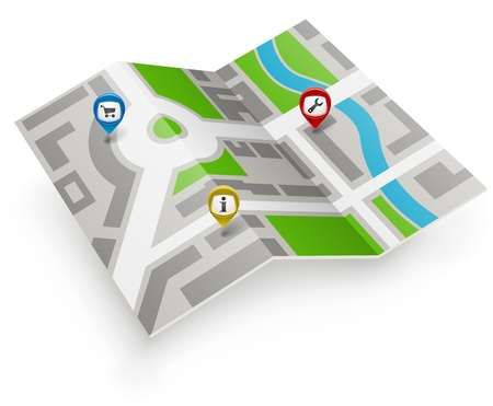route map: Paper map icon with color pointers.