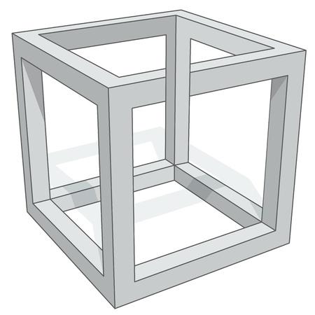psychical: Cube optical illusion isolated on white background. Illustration