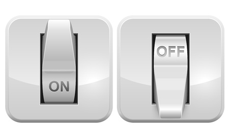 switch on the light: Interruptor el�ctrico icono web aislada en el fondo blanco. Vectores