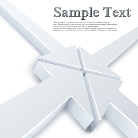 �mission: Abstract 4 white arrows meeting in one point concept. Business background. Illustration