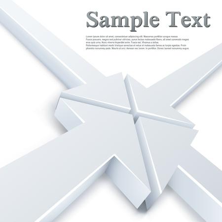 Abstract 4 witte pijlen vergadering in een punt concept. Zakelijke achtergrond.