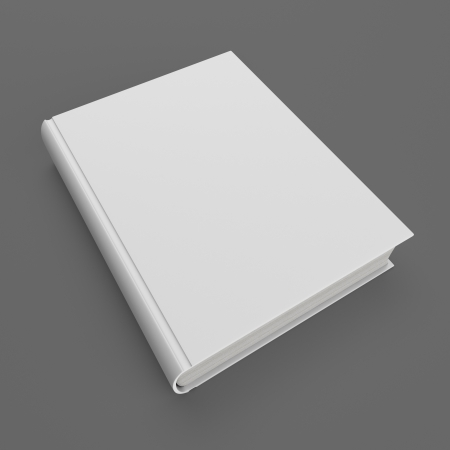 hard cover: Blank white hardcover book isolated on gray background. Stock Photo