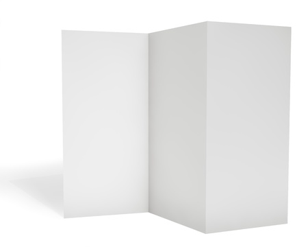 Blank triple leaflet template isolated on white background. Zdjęcie Seryjne