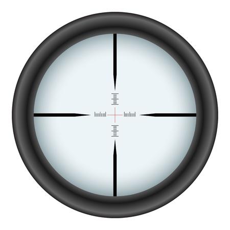 snajper: Lunety celownik na białym tle. Ilustracja