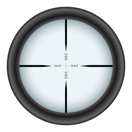 gun sight: Rifle scope crosshair isolated on white background.