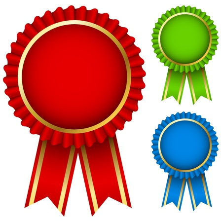 award winning: Blank award ribbon rosettes in three colors isolated on white