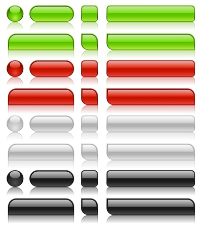 menu button: Glossy web buttons of different shapes in green, red, white and black colors.