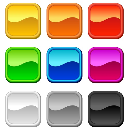 Glossy blank square rounded buttons in nine colors.