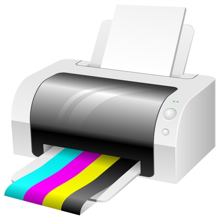 toner: Modern color printer with CMYK colored paper.