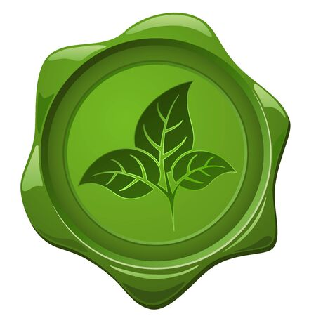 special events: Eco sign. Green wax seal with leaves shape isolated on white.