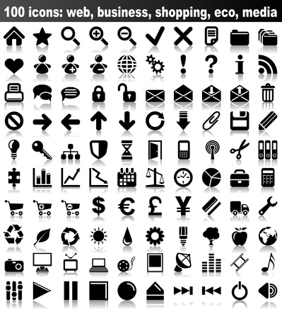 100 icons  web, business, finance, shopping, eco, media Stock Vector - 17916082