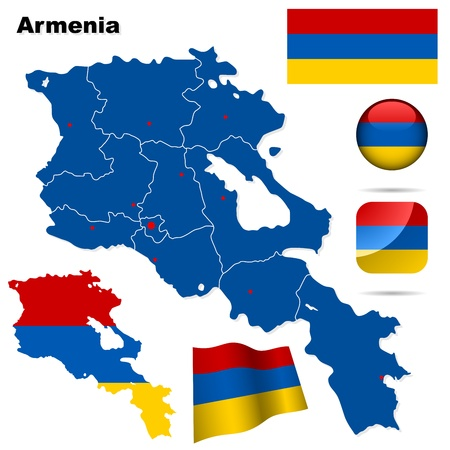yerevan: Armenia set  Detailed country shape with region borders, flags and icons isolated on white background  Illustration