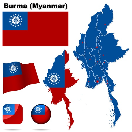 myanmar: Burma  Myanmar  set  Detailed country shape with region borders, flags and icons isolated on white background