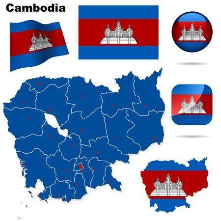 Cambodia set  Detailed country shape with region borders, flags and icons isolated on white background