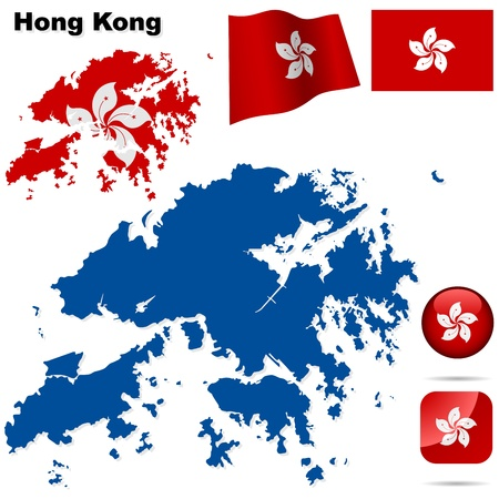 Hong Kong set  Detailed region shape, flags and icons isolated on white background