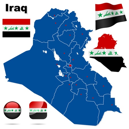 Iraq  set  Detailed country shape with region borders, flags and icons isolated on white background Stock Vector - 17916077