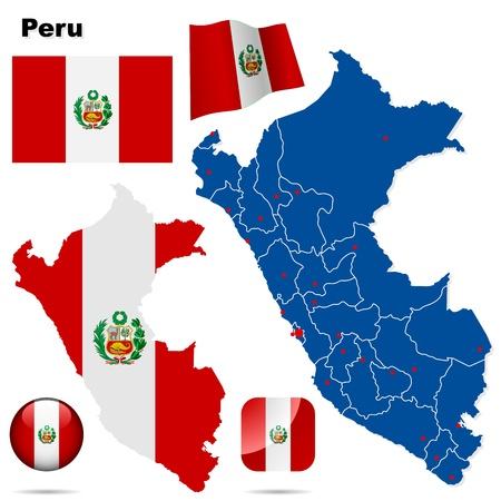 mapa del peru: Perú estableció forma detallada país con las fronteras de la región, banderas e iconos aislados sobre fondo blanco Vectores