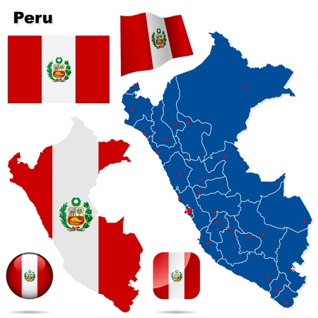 republic of peru: Peru set  Detailed country shape with region borders, flags and icons isolated on white background