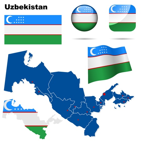 Uzbekistan set  Detailed country shape with region borders, flags and icons isolated on white background  Stock Vector - 17916076
