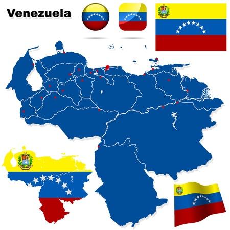 mapa de venezuela: Venezuela estableci� forma detallada pa�s con las fronteras de la regi�n, banderas e iconos aislados sobre fondo blanco Vectores