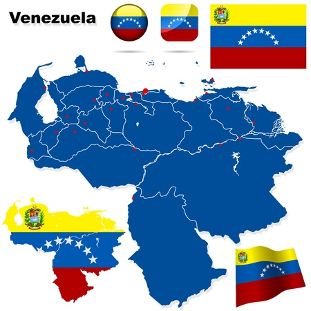 Venezuela set  Detailed country shape with region borders, flags and icons isolated on white background  Stock Vector - 17918222