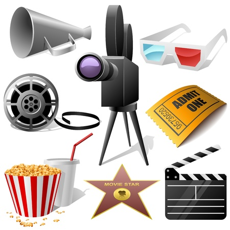 Cinema symbols set isolated on white  Vector
