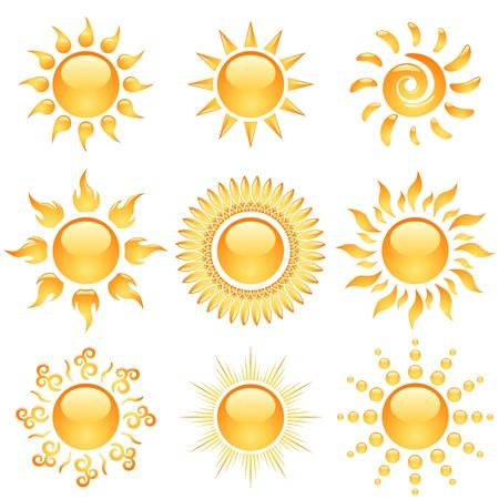 sol caricatura: Amarillo brillante colecci�n de iconos del sol aislado en blanco
