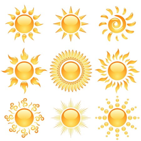 Yellow glossy sun icons collection isolated on white