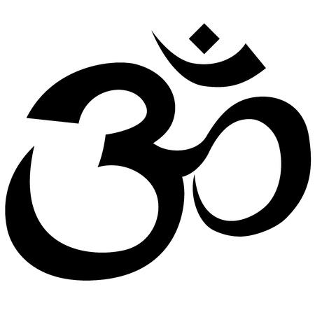 om: Hindu symbol outline isolated on white background  Illustration