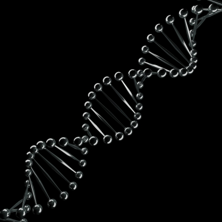 Abstract DNA chrome spiral isolated on black background  Stock Photo - 17918239