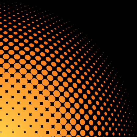 visual art: Yellow and orange halftone background with black copy space  Illustration