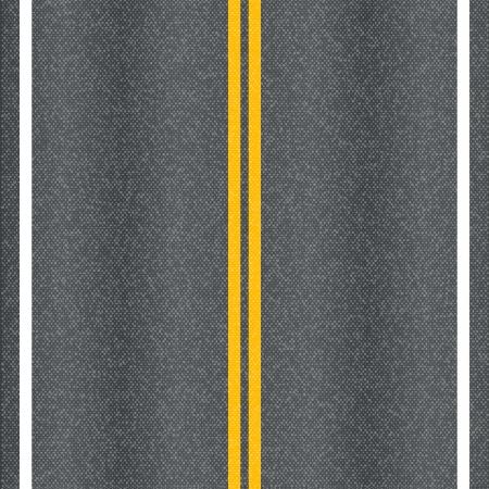 Asfaltweg textuur met markeringslijnen Stock Illustratie