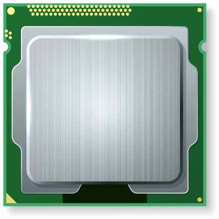 unit: Modern computer core processing unit (CPU) isolated on white background.