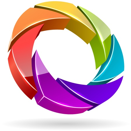 Abstracte kleurrijke foto sluitertijd diafragma 3D vector icon.