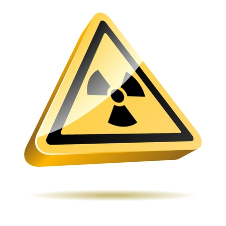 Radiation warning 3D sign icon isolated on white background   Vector