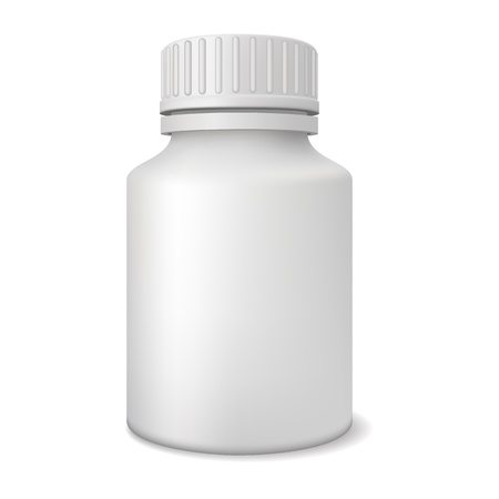 pill prescription: Blank medicine bottle realistic vector illustration