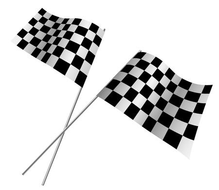 rallying: Banderas cruzadas de carreras aisladas sobre fondo blanco Vectores