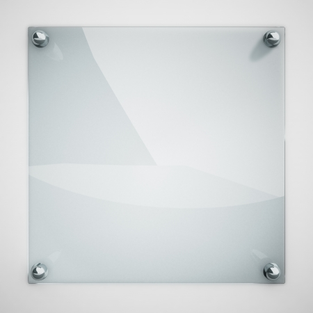 steel plate: Protection glass plate fastened to white wall with metal rivets  Stock Photo