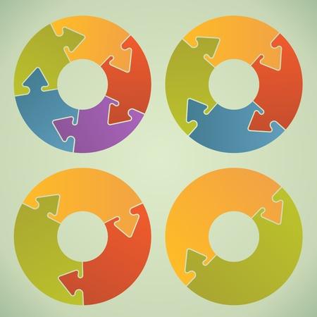�¡ircle infographic grafiek met puzzel, zoals pijl sloten Stock Illustratie
