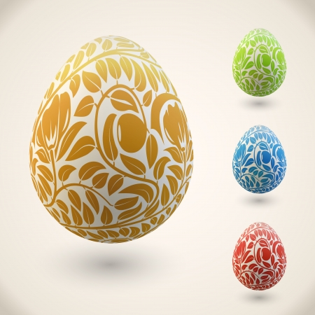 gold eggs: Easter egg with color floral ornament vector illustration