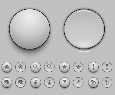 Blank white push button template vector illustration