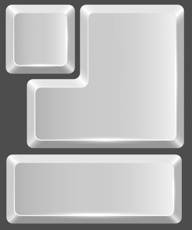 typer: Blank white keyboard button isolated on gray background.
